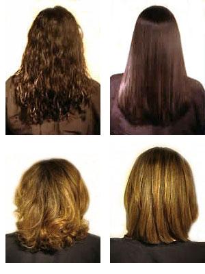 выпрямление волос до и после